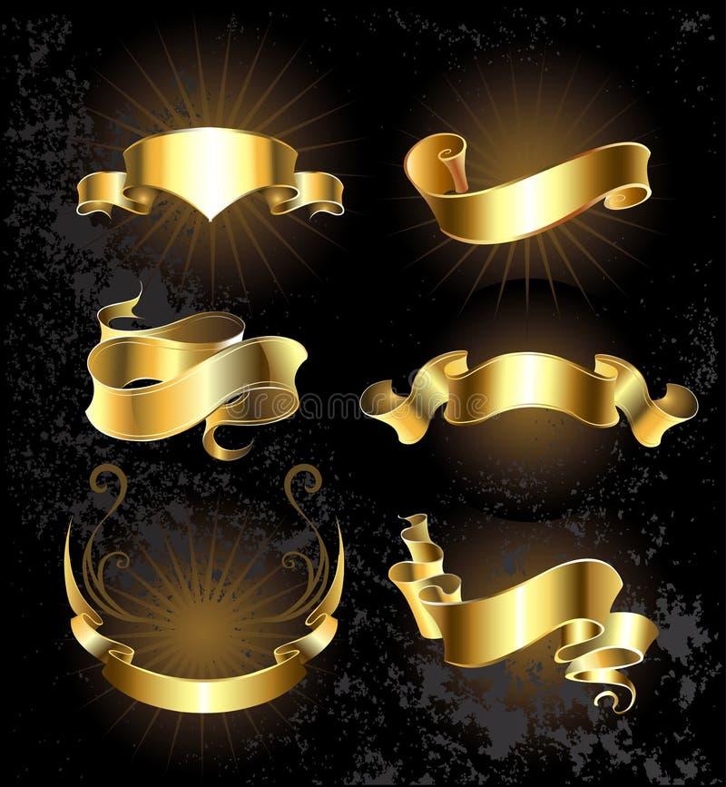 Sistema de cintas del oro fijadas ilustración del vector