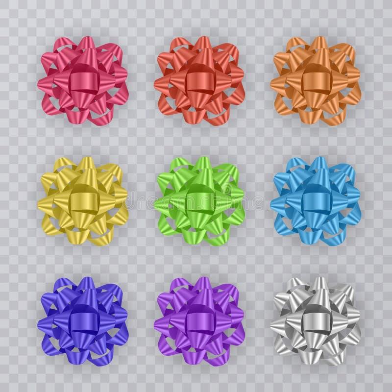 Sistema de cintas del regalo con el arco colorido Elementos del regalo para el diseño de tarjeta Fondo del día de fiesta Ilustrac stock de ilustración