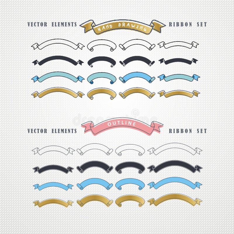 Sistema de cintas dibujadas mano del vector stock de ilustración