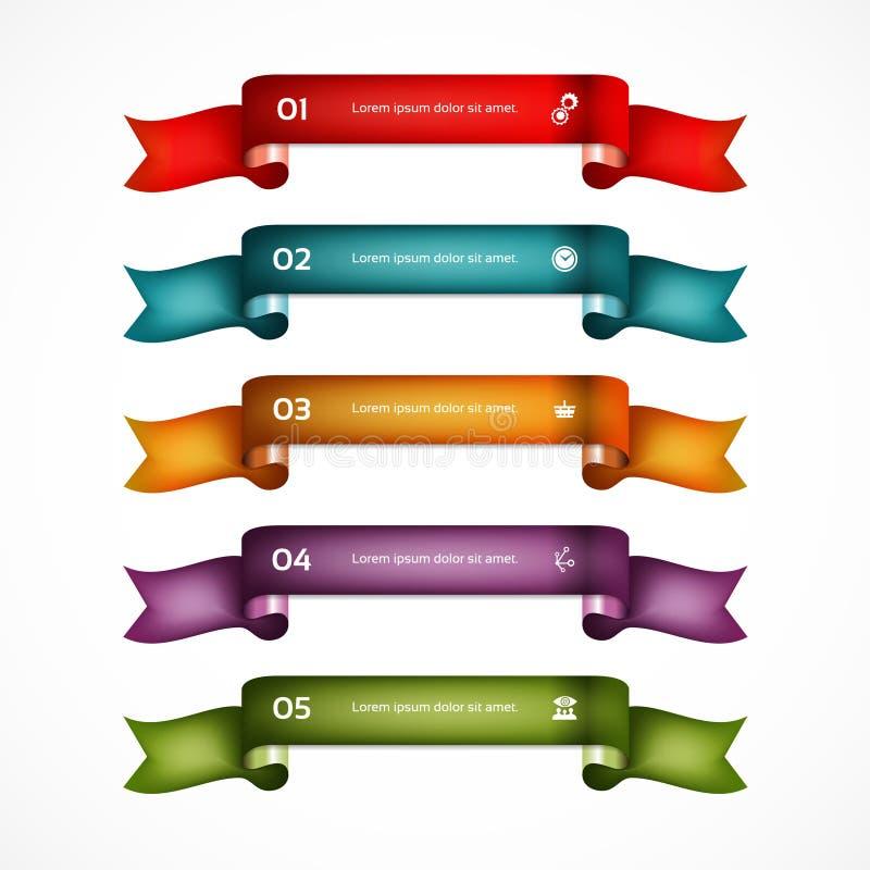 Sistema de cintas Diseño de Infographic banderas numeradas stock de ilustración