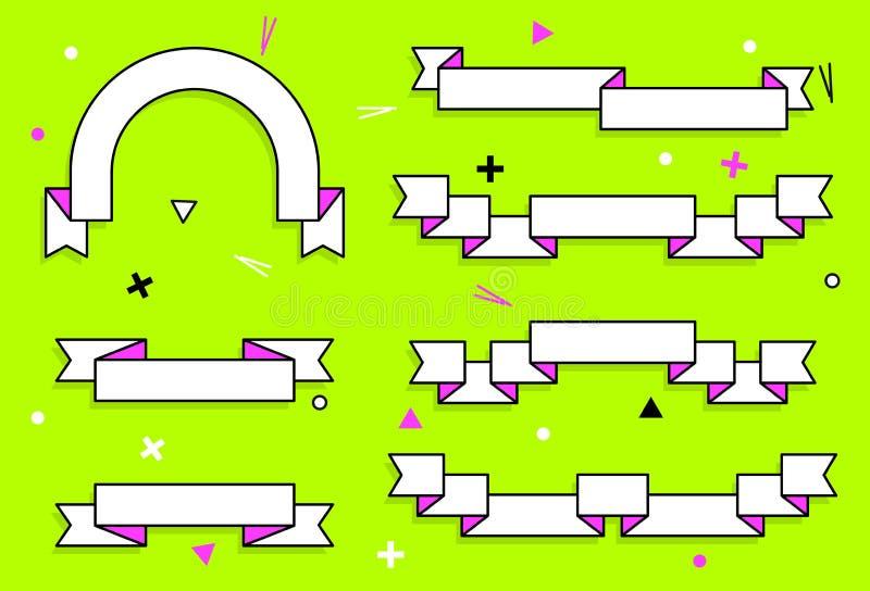 Sistema de cintas geométricas planas de moda del vector Las banderas transparentes vivas en cartel retro diseñan estilo Colores d libre illustration