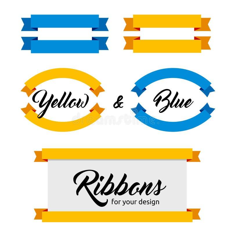 Sistema de cintas y de banderas del vector Estilo plano Colores azules y amarillos ilustración del vector