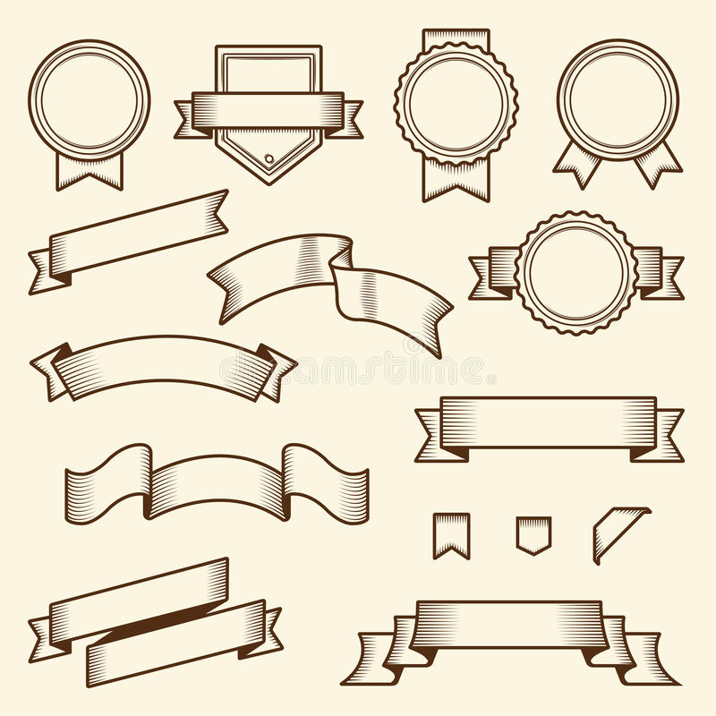 Sistema de cintas y de etiquetas del vintage aisladas en el fondo blanco Línea arte Diseño moderno stock de ilustración