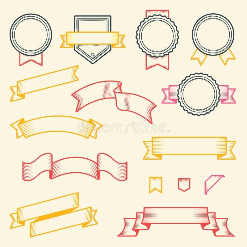Sistema de cintas y de etiquetas del vintage aisladas en el fondo blanco Línea arte Diseño moderno libre illustration