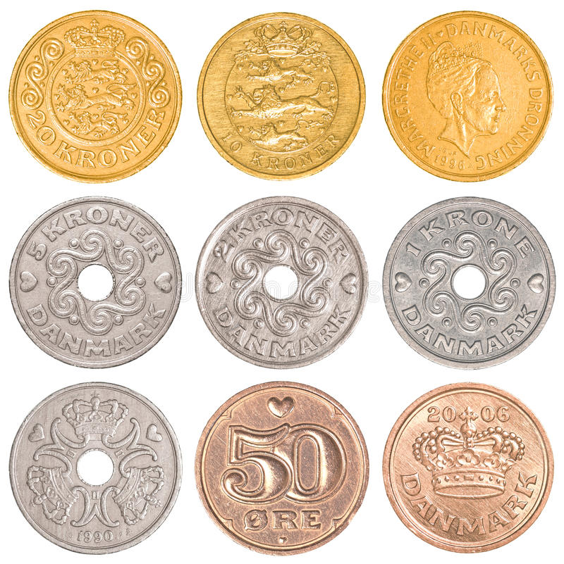 Sistema de circulación de la colección de monedas de Dinamarca fotos de archivo
