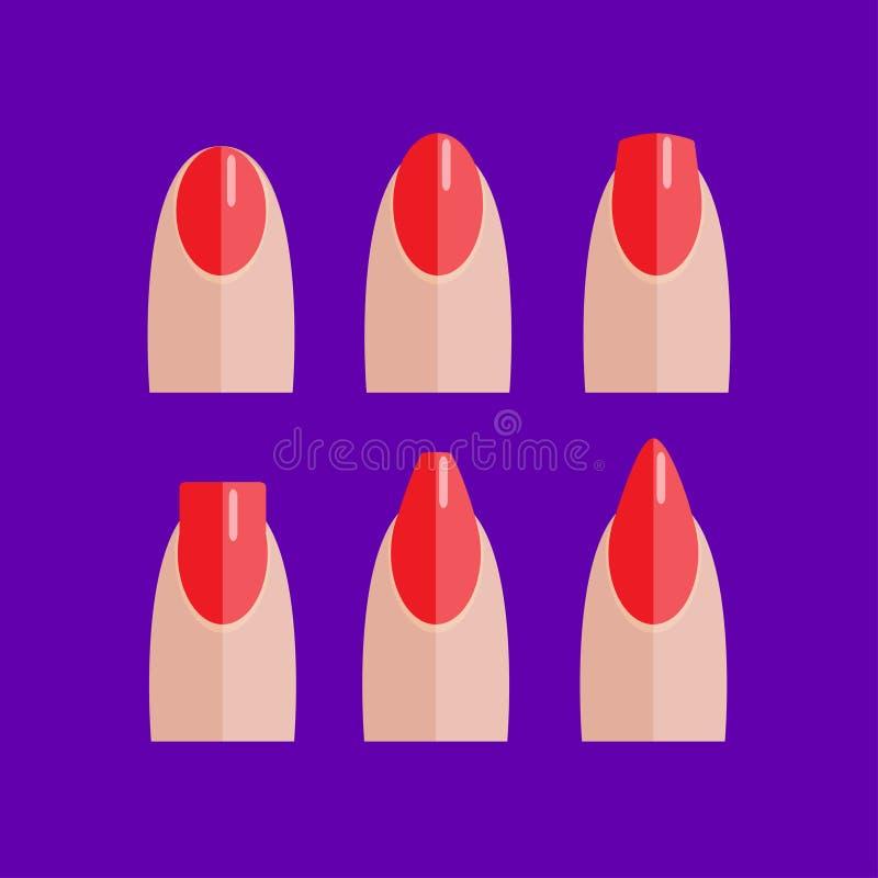 Sistema de clavos rojos manicured stock de ilustración