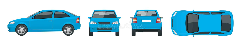 Sistema de coches azules del sedán Coche aislado, plantilla para el coche que califica y que hace publicidad Delantero, posterior ilustración del vector
