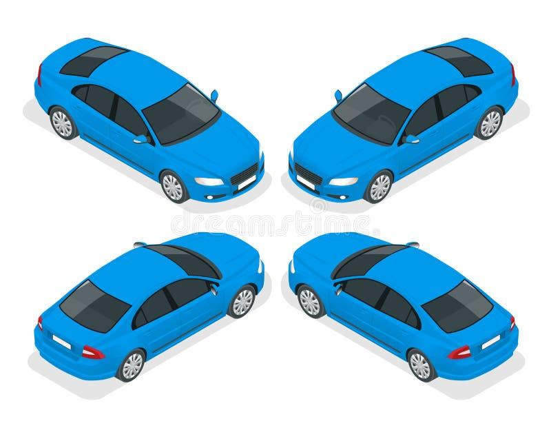 Sistema de coches del sedán Coche aislado, plantilla para calificar y hacer publicidad Delantero y trasero isométricos ilustración del vector