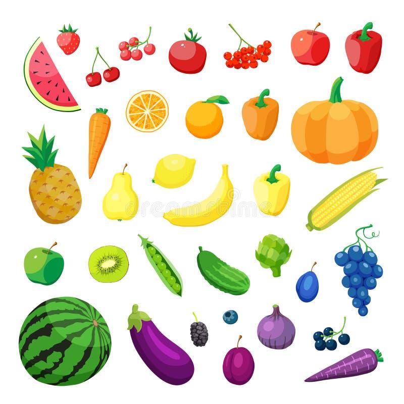 Sistema de cocina sana orgánica vegetariana de la comida del vector verdura y frutas realistas naturales orgánicas stock de ilustración