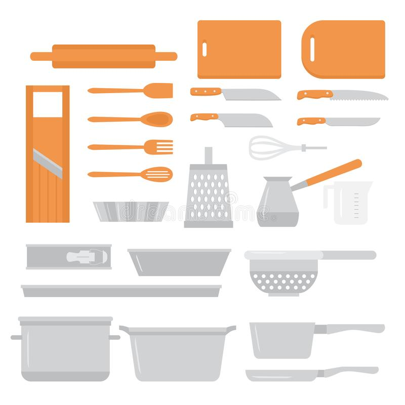Sistema de cocinar plano del equipo Iconos de los elementos del diseño del cocinero La cocina sirve las herramientas, los cuchill ilustración del vector