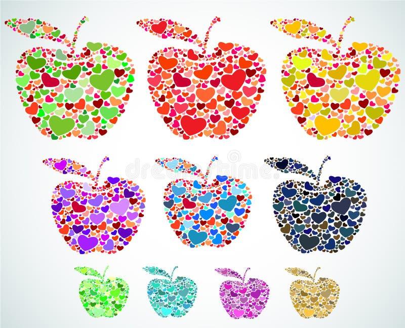 Sistema de manzanas de corazones fotos de archivo libres de regalías
