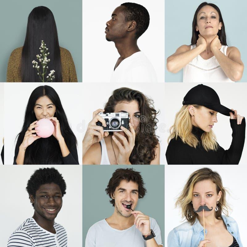 Sistema de collage del estudio de la forma de vida de la expresión de la cara de la gente de la diversidad fotografía de archivo libre de regalías