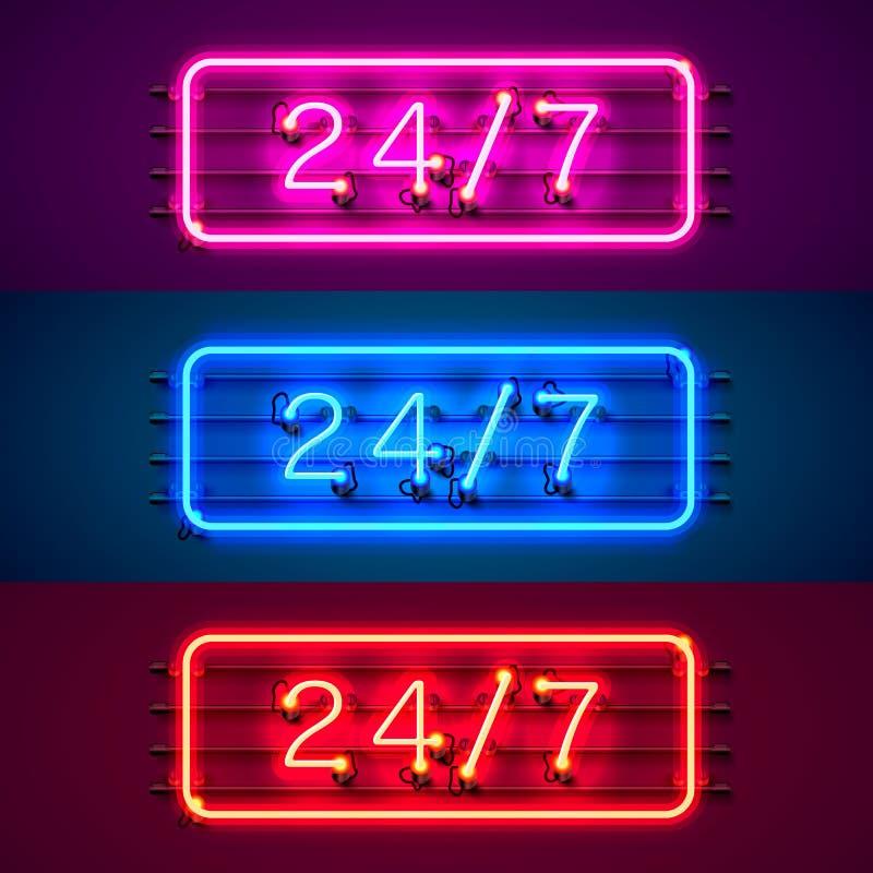 Sistema de color abierto del tiempo del letrero 24 7 de neón libre illustration