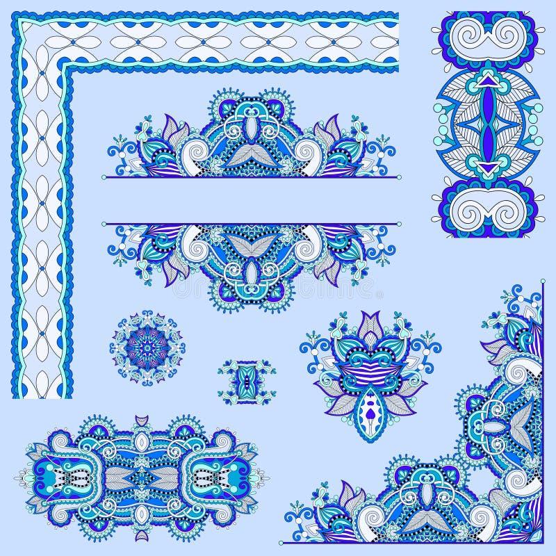 Sistema de color azul de los elementos del diseño floral de Paisley para la decoración de la página stock de ilustración