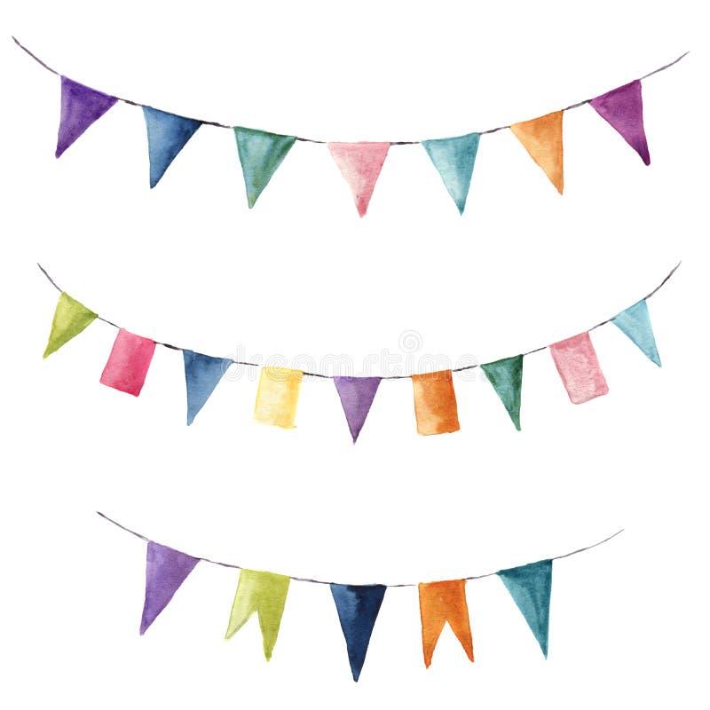 Sistema de color brillante de la acuarela con las guirnaldas de las banderas Vaya de fiesta, los niños van de fiesta o los elemen stock de ilustración