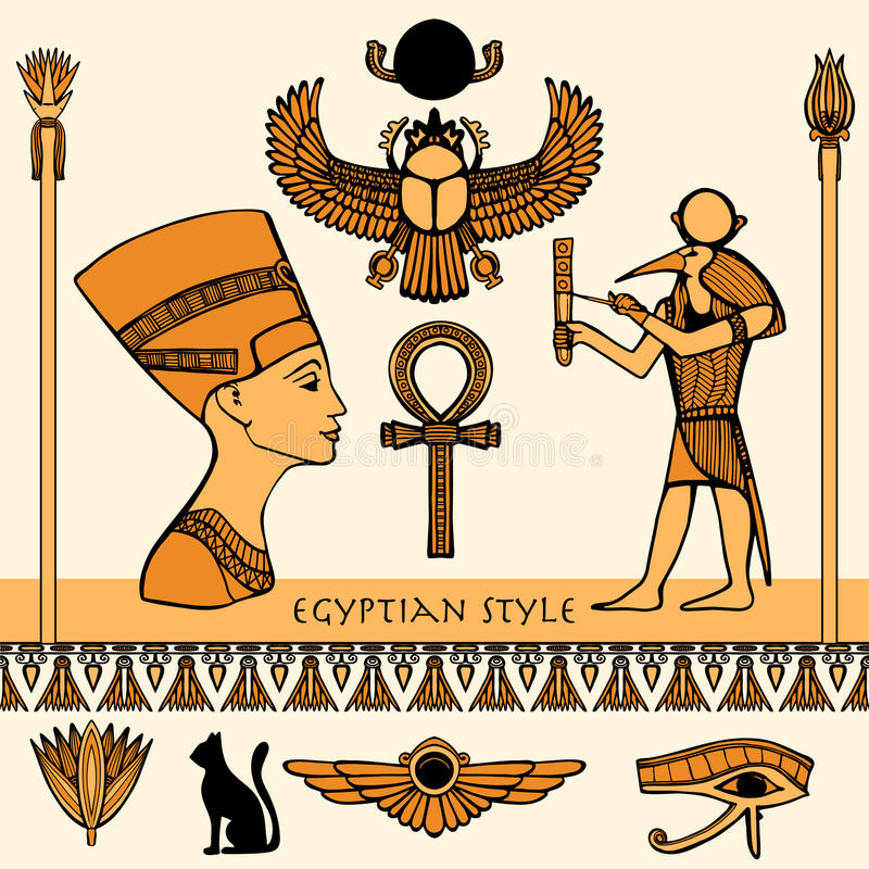 Sistema de color de Egipto stock de ilustración