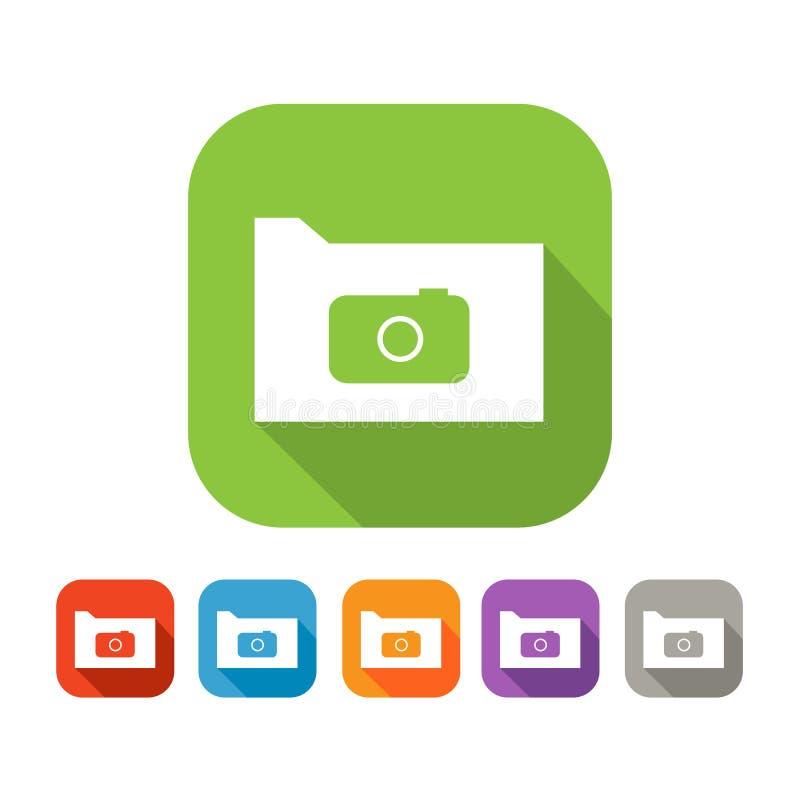 Sistema de color de la carpeta plana con la cámara stock de ilustración