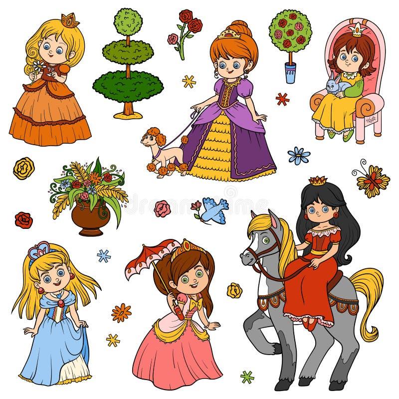 Sistema de color de la princesa, caracteres del ` s de los niños del vector ilustración del vector