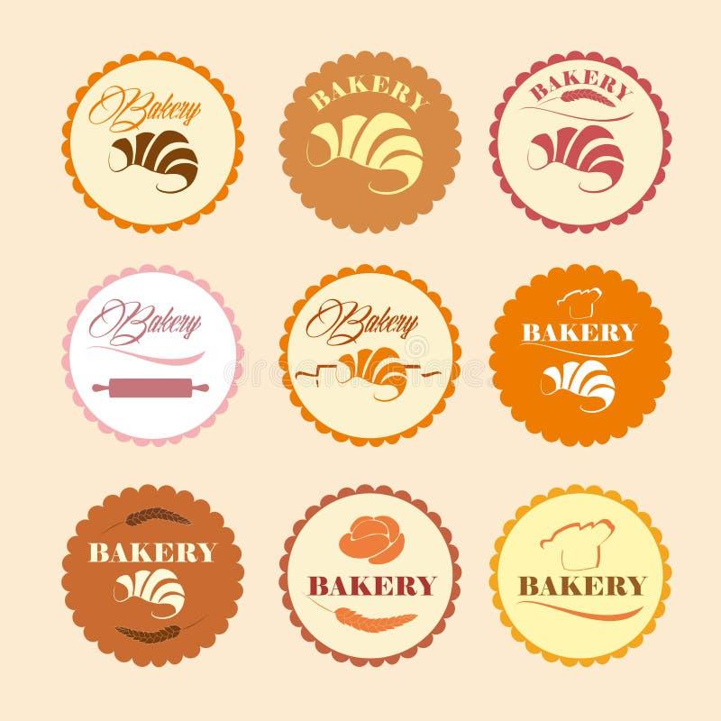 Sistema de color de los logotipos retros de la panadería del vintage, etiquetas, insignias stock de ilustración