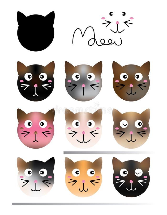 Sistema de color del efecto de la forma del gato stock de ilustración