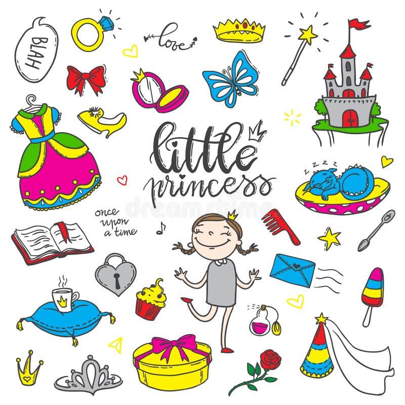 Sistema de color divertido de la pequeña princesa Muchachas vestido, mariposa, espejo, ilustración del vector