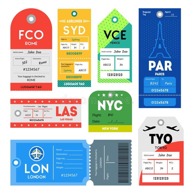 Sistema de color de las etiquetas del pasaporte y del equipaje Vector stock de ilustración