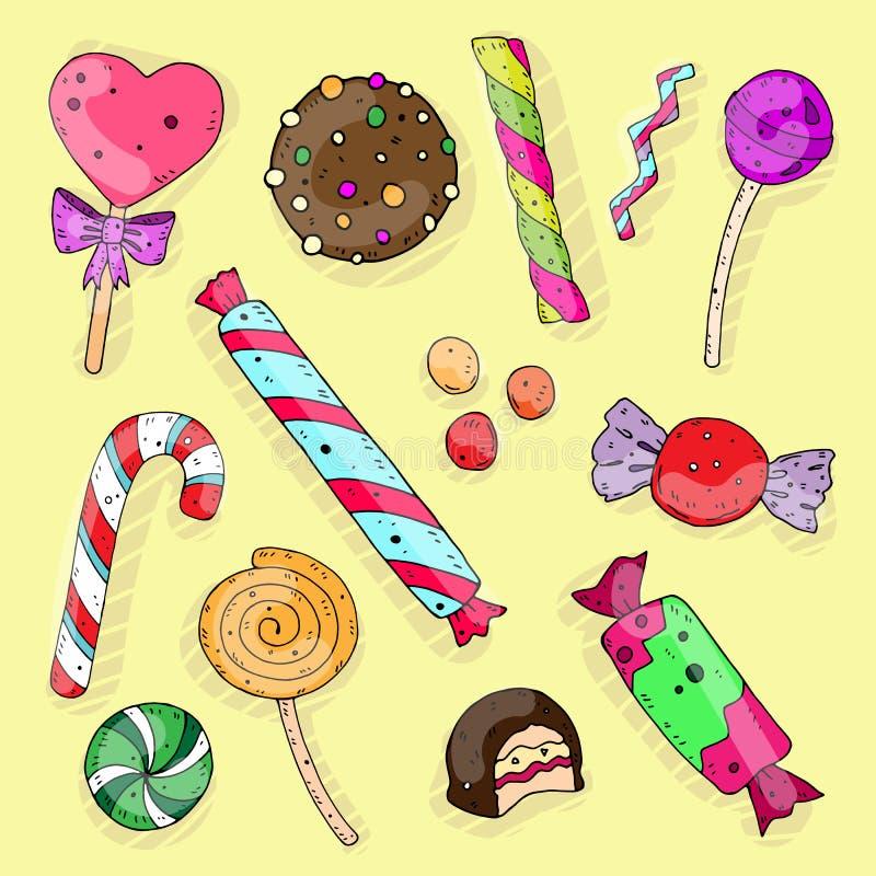 Sistema de color lindo de la historieta de caramelos dulces en un fondo neutral Ilustraci?n del vector stock de ilustración