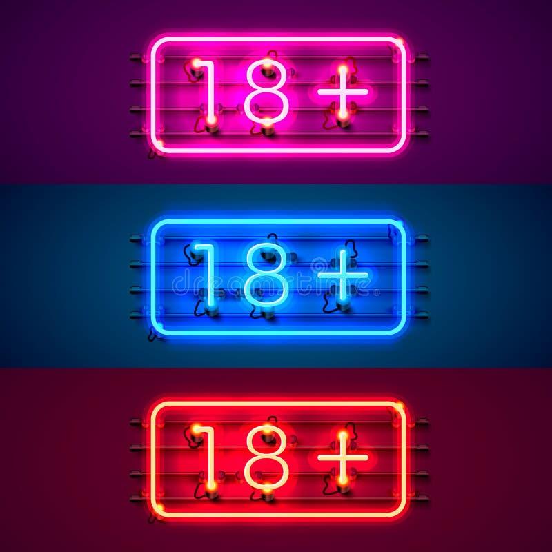 Sistema de color más del letrero 18 de neón stock de ilustración