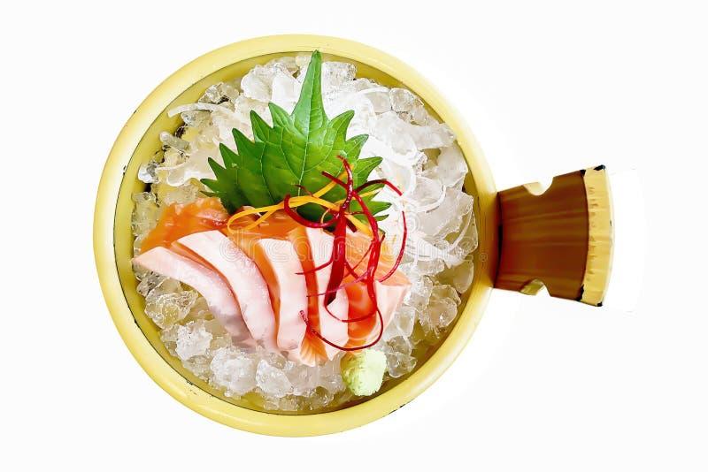 Sistema de color salmón del sushi aislado en el fondo blanco fotos de archivo