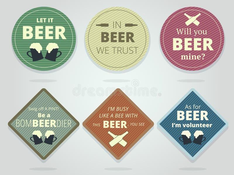 Sistema de coloreado alrededor y prácticos de costa y Mats Wit listos cuadrados de la cerveza ilustración del vector