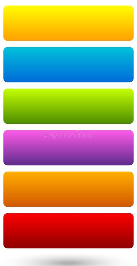 Sistema de 6 coloridos, botón vivo, fondos de la bandera con s en blanco libre illustration
