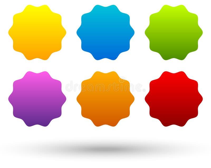 Sistema de 6 coloridos, botón vivo, fondos de la bandera con s en blanco ilustración del vector