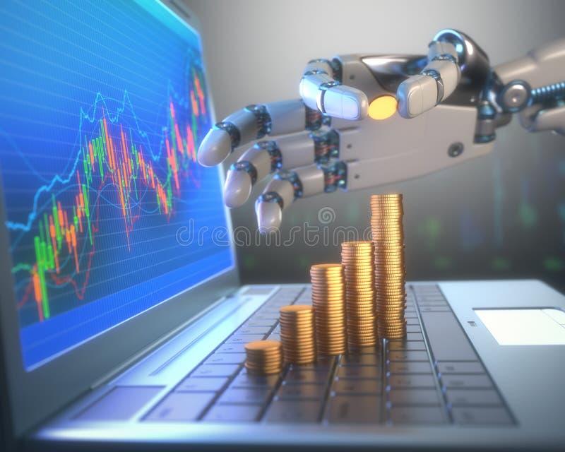 Sistema de comércio do robô no mercado de valores de ação fotografia de stock