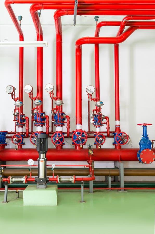 Sistema de combate do sistema de extinção de incêndios e do alarme de incêndio da água foto de stock
