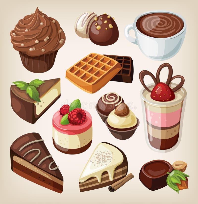 Sistema de comida del chocolate ilustración del vector