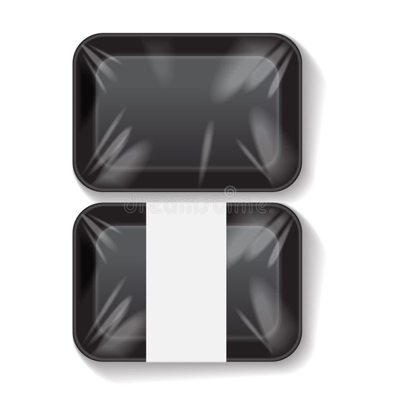 Sistema de comida plástica Tray Container del rectángulo de la espuma de poliestireno negra del espacio en blanco Mofa del vector libre illustration