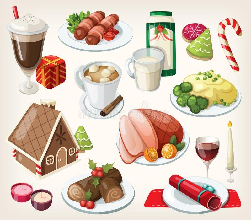 Sistema de comida tradicional de la Navidad ilustración del vector