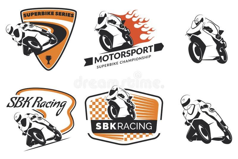 Sistema de competir con el logotipo, insignias e iconos de la motocicleta libre illustration