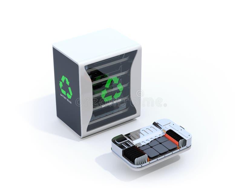 Sistema de componentes reutilizado de las baterías del vehículo eléctrico con la opinión cortada del paquete de la batería de EV libre illustration