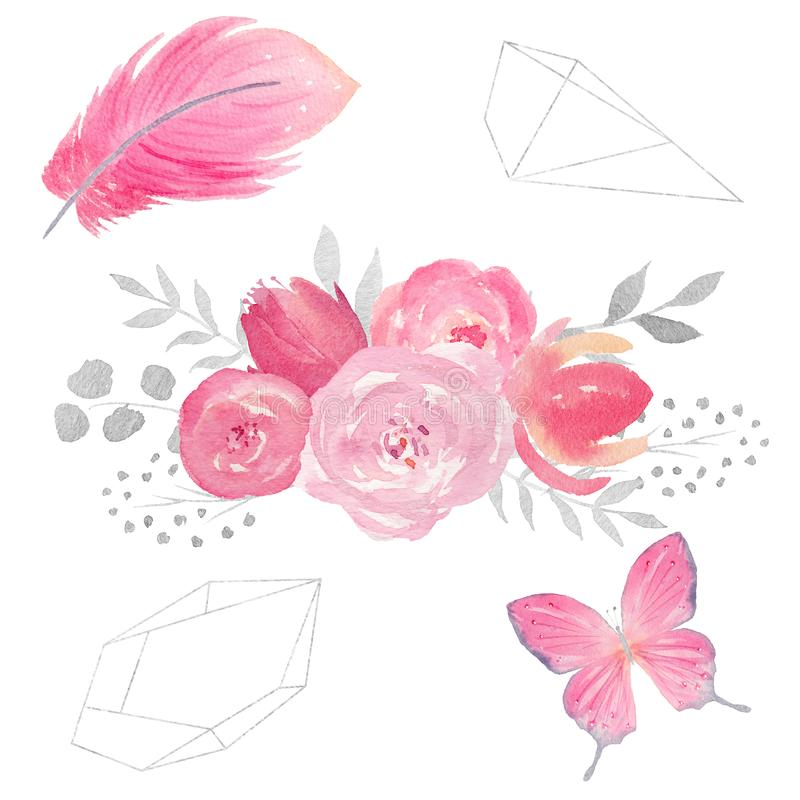 Sistema de composición floral de la acuarela con las flores, las hojas, la mariposa, la pluma y los marcos poligonales stock de ilustración