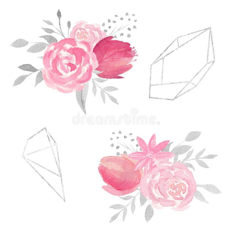 Sistema de composición floral de la acuarela con las rosas, las flores, las hojas, y los marcos poligonales ilustración del vector