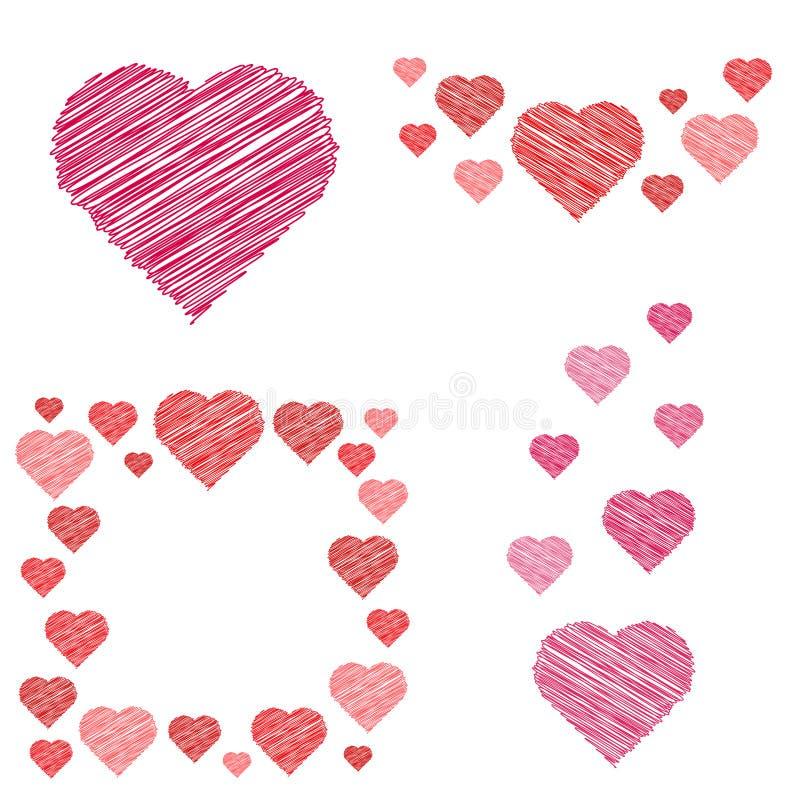 Sistema de composiciones de los corazones en estilo del bosquejo libre illustration