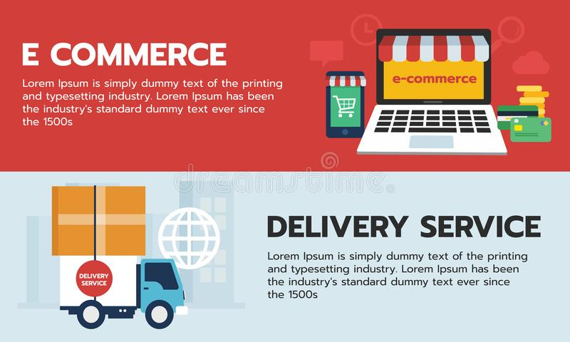 Sistema de compras en línea de la bandera, comercio electrónico en el dispositivo y servicio de entrega del envío del camión stock de ilustración