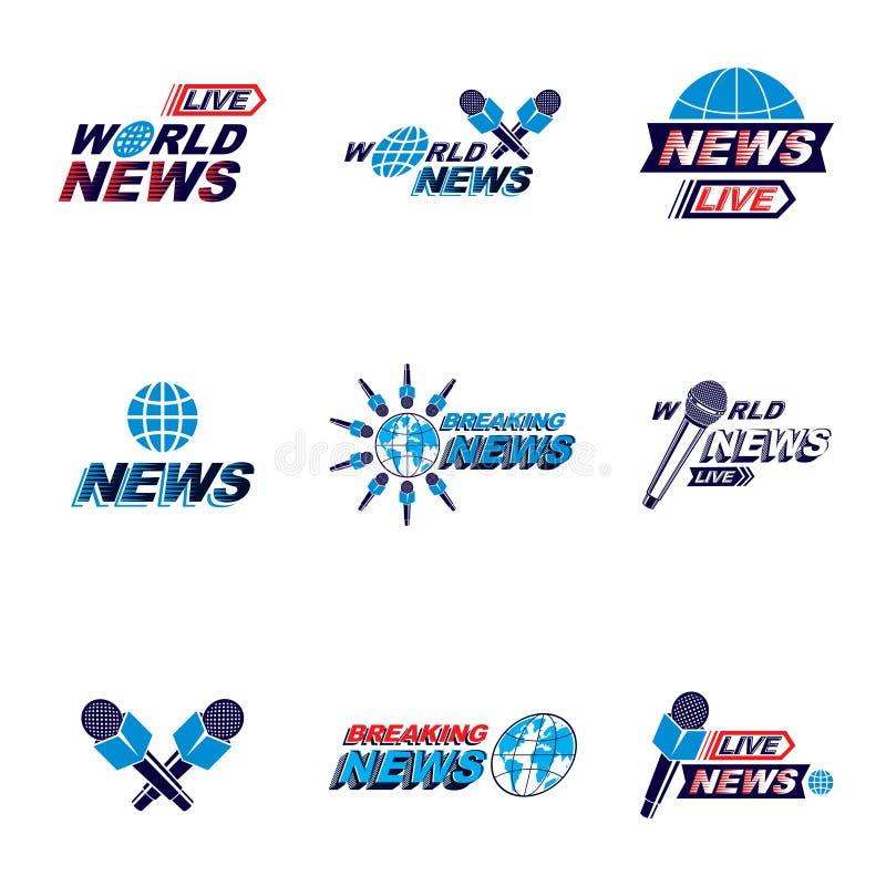 Sistema de concepto de las relaciones públicas y de vecto del tema de la rueda de prensa stock de ilustración