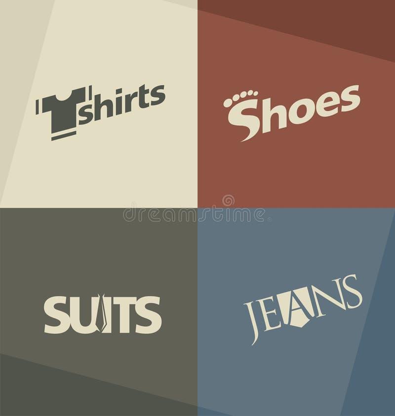 Sistema de conceptos de diseño del logotipo de la moda stock de ilustración