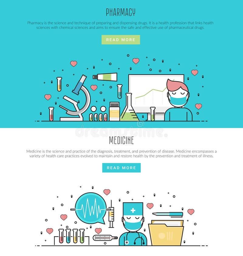Sistema de conceptos de la farmacia y de la medicina en la línea estilo plana para la bandera del web y los materiales impresos stock de ilustración