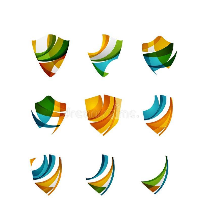 Sistema de conceptos del logotipo del escudo de la protección stock de ilustración