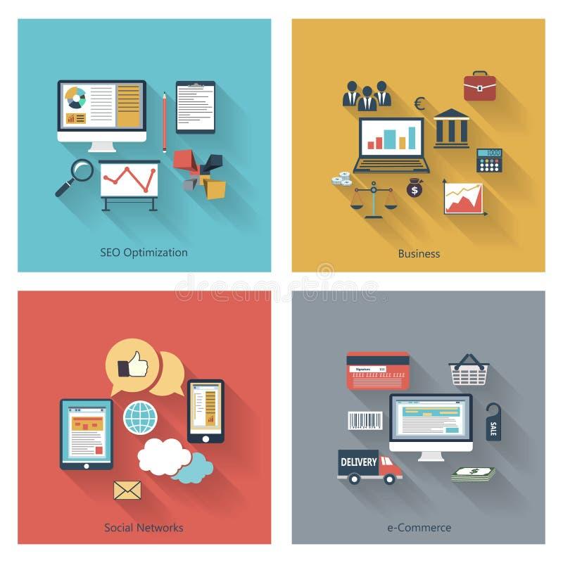 Sistema de conceptos modernos en diseño plano libre illustration