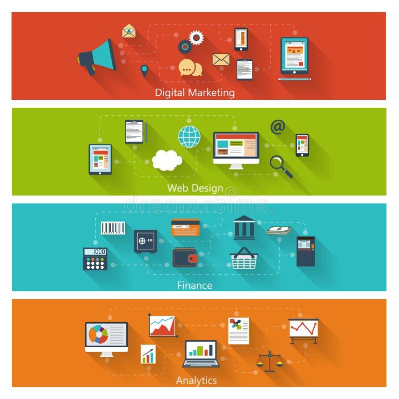Sistema de conceptos modernos en diseño plano stock de ilustración