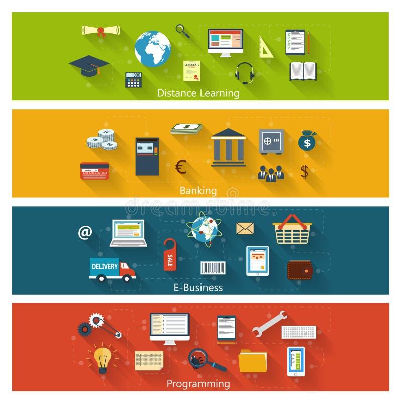 Sistema de conceptos modernos en diseño plano ilustración del vector
